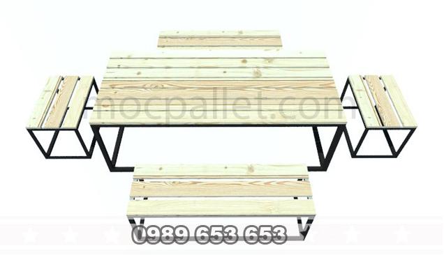 Bàn ghế gỗ thông khung sắt BGS17