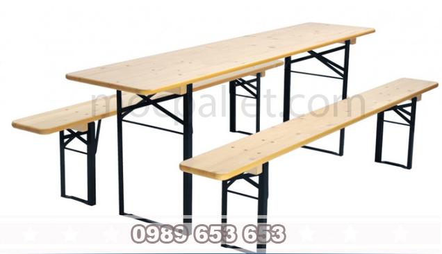 Bộ bàn ghế gỗ thông chân sắt BGS5
