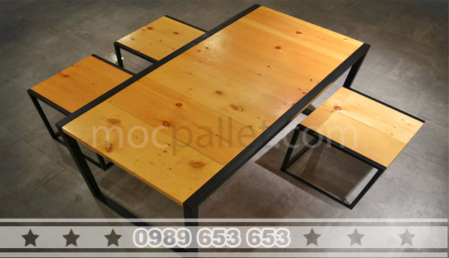 Bộ bàn ghế gỗ thông chân sắt BGS6