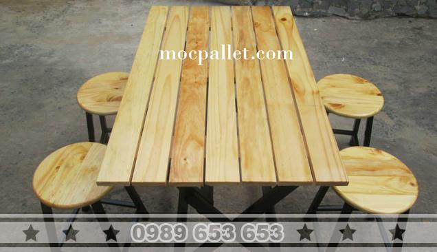 Bàn ghế gỗ khung sắt cho quán ăn nhà hàng BGS27