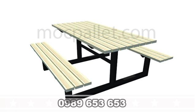 Bàn gỗ thông khung sắt BGS16