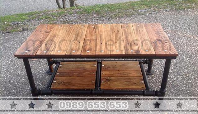 Bàn mặt gỗ chân sắt BGS8