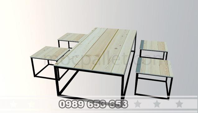 Bộ bàn ghế chân sắt gỗ thông pallet S8