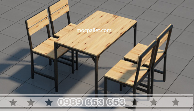 Bộ bàn ghế gỗ cafe chân sắt BGS4