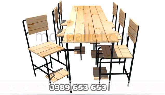 Bộ bàn ghế chân sắt gỗ thông pallet S9