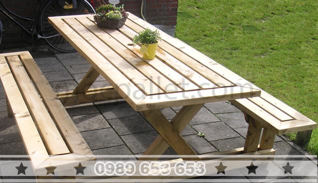 Bộ bàn ghế liền gỗ thông BG65