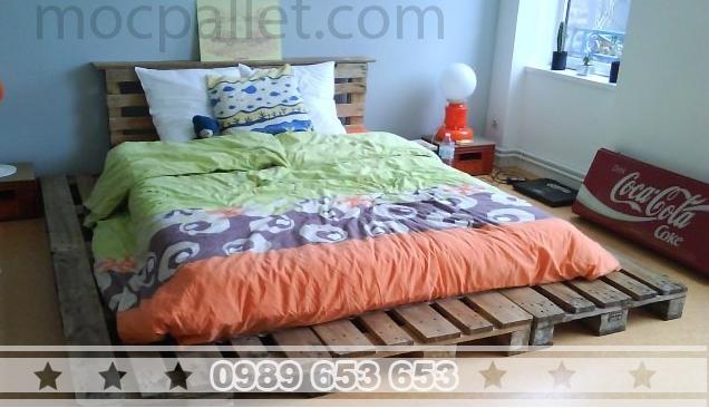 Giường ngủ gỗ thông pallet GN14