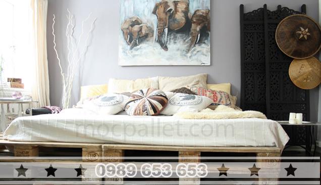 Giường ngủ gỗ thông pallet GN10
