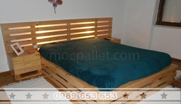 Giường ngủ gỗ thông pallet GN09