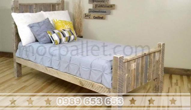 Giường ngủ gỗ thông pallet GN19