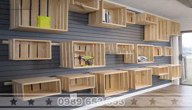 Kệ gỗ trang trí treo tường KG02
