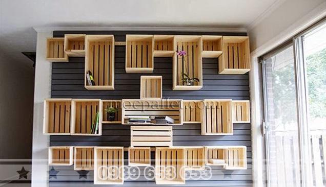 Kệ treo tường gỗ thông Pallet KG03