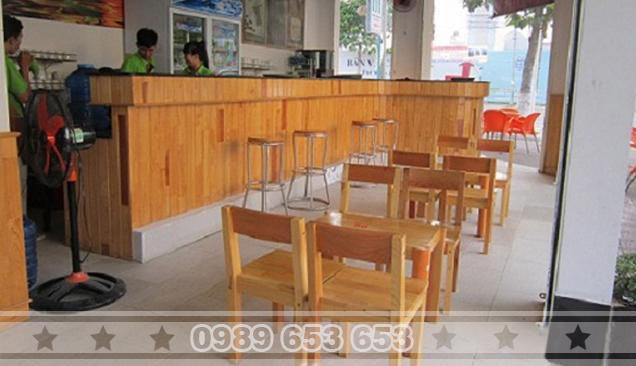 Quầy bar cafe gỗ thông pallet giá rẻ 06