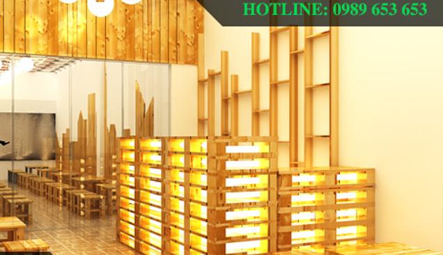 Thiết kế và thi công quán cafe từ chất liệu pallet