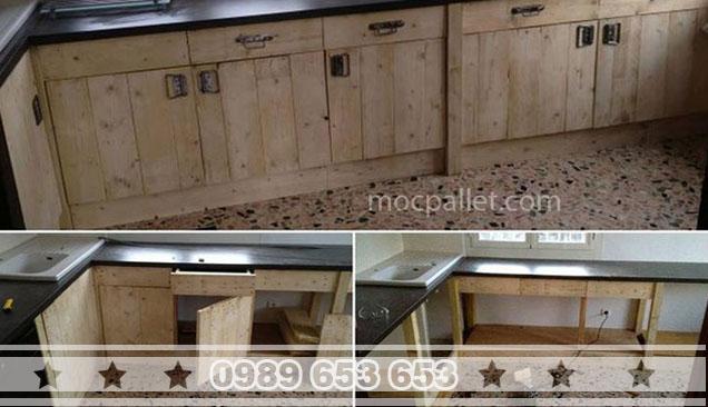 Tủ bếp gỗ thông pallet T2
