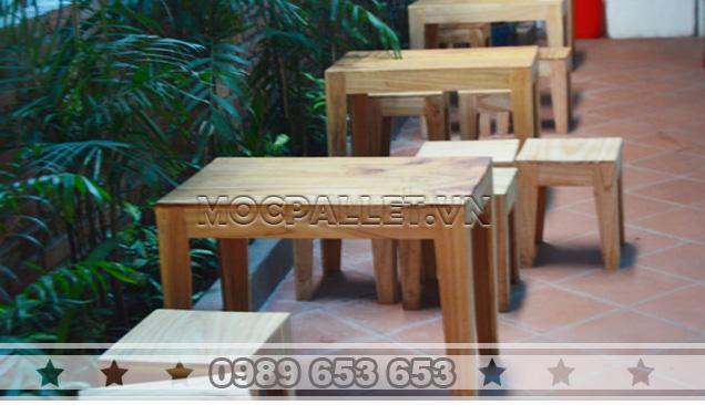 Bàn ghế gỗ thông pallet BG15