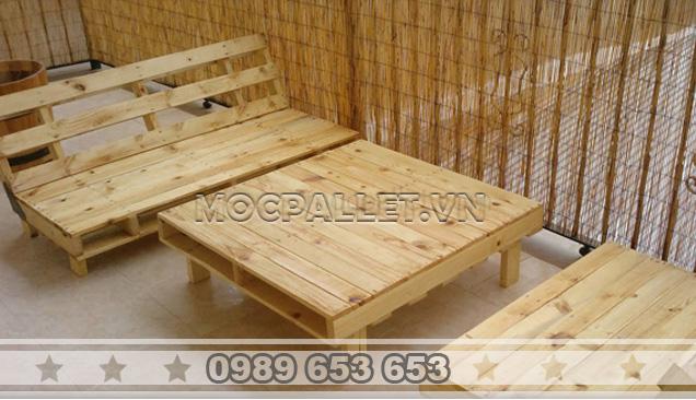 Bàn ghế gỗ thông pallet BG23