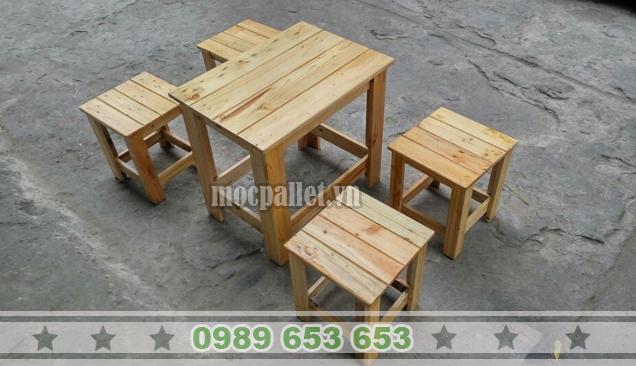 Bàn ghế gỗ thông Pallet BG34