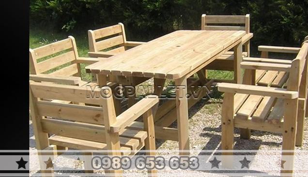 Bàn ghế gỗ thông pallet BG2
