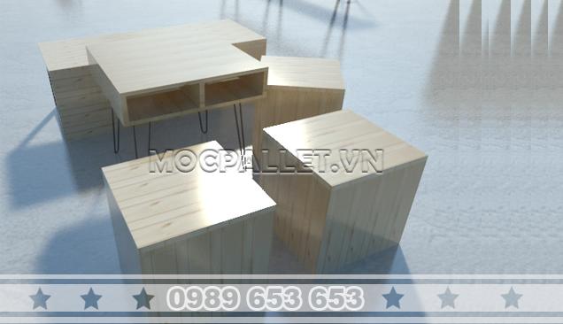 Bộ bàn ghế gỗ thông pallet cho quán cafe BGT01