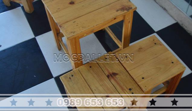 Bàn ghế gỗ thông pallet BG16