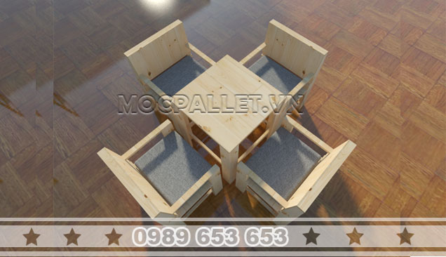 Bộ bàn ghế gỗ thông pallet BG002