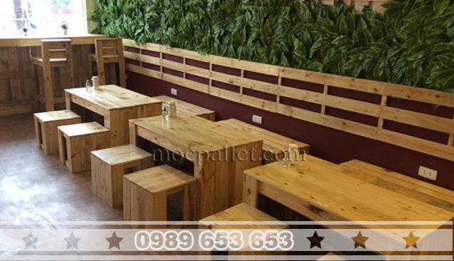 Bộ bàn ghế gỗ thông pallet BG39