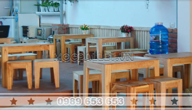 Bàn ghế gỗ thông pallet BG13