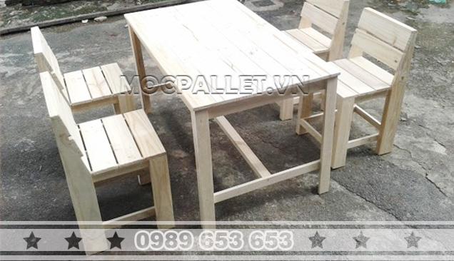 Bàn ghế gỗ thông Pallet BG35