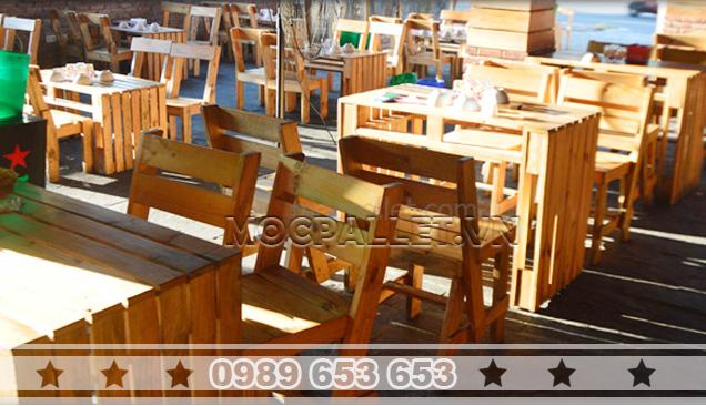 Bàn ghế gỗ thông pallet BG10