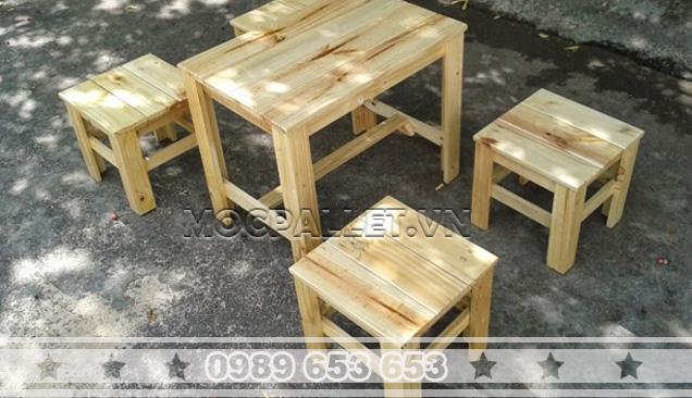 Bàn ghế gỗ thông Pallet BG36