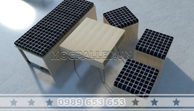 Bộ bàn ghế sofa gỗ thông BGF02