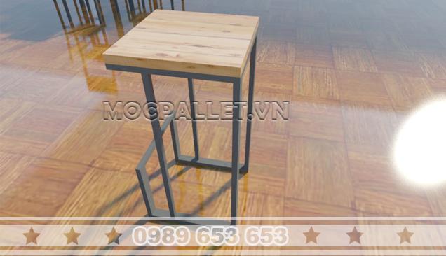 Ghế gỗ pallet chân sắt quán bar GB14