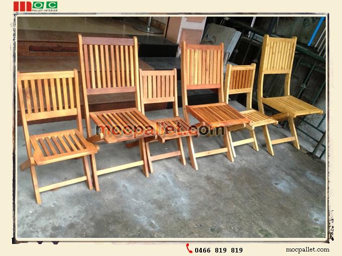 Bàn ghế cafe chân gỗ pallet
