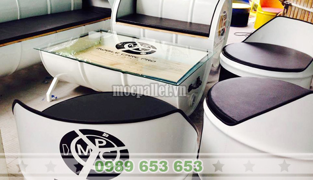Bộ bàn ghế thùng phi TP02