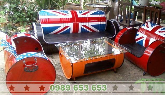 Bộ bàn ghế thùng phi TP04