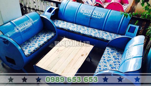 Bộ bàn ghế thùng phi TP05
