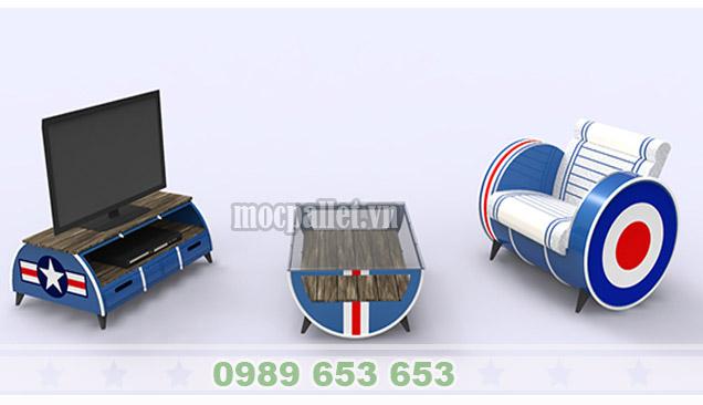 Bộ bàn ghế thùng phi sắt TP44