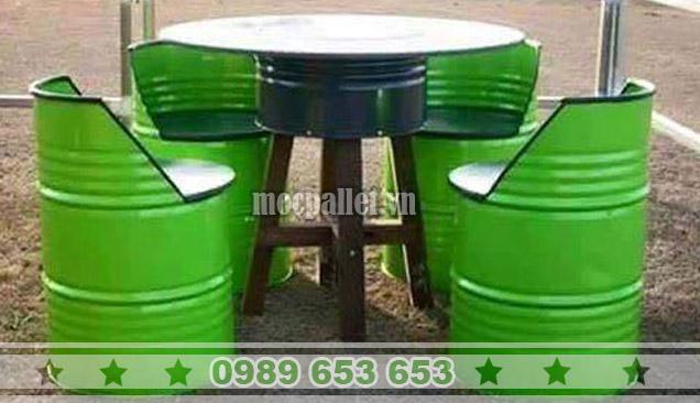 Bộ bàn ghế thùng phi TP12