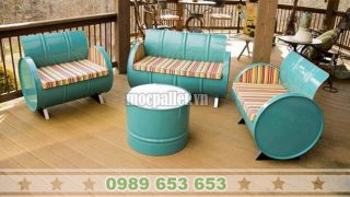 bàn ghế thùng phi