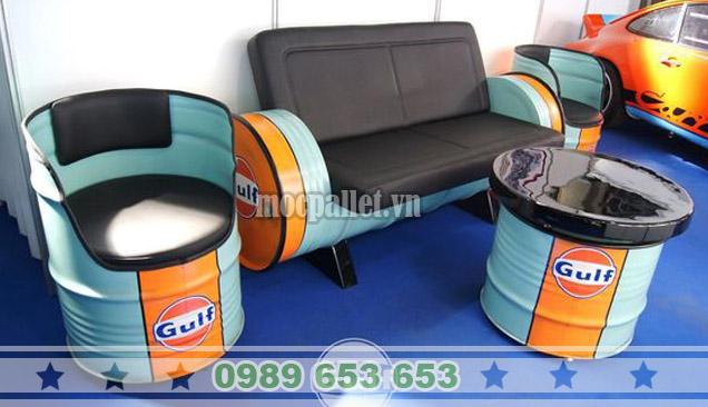 Bộ bàn ghế thùng phi TP14