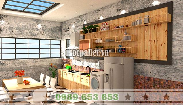 Tủ bếp gỗ thông đẹp TB013