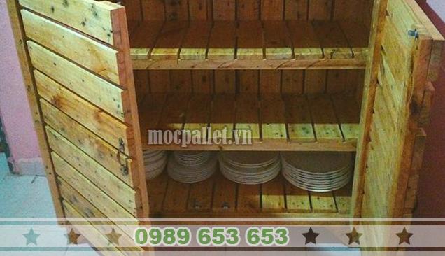 Tủ bếp gỗ thông pallet TB04