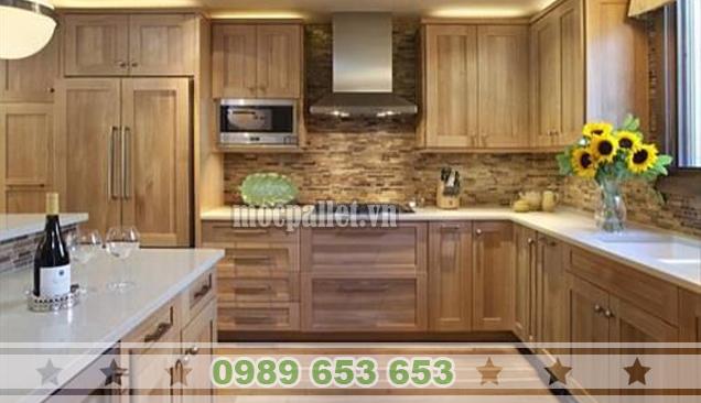 Tủ bếp gỗ thông pallet TB03