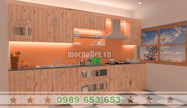Tủ bếp gỗ thông đẹp TB012