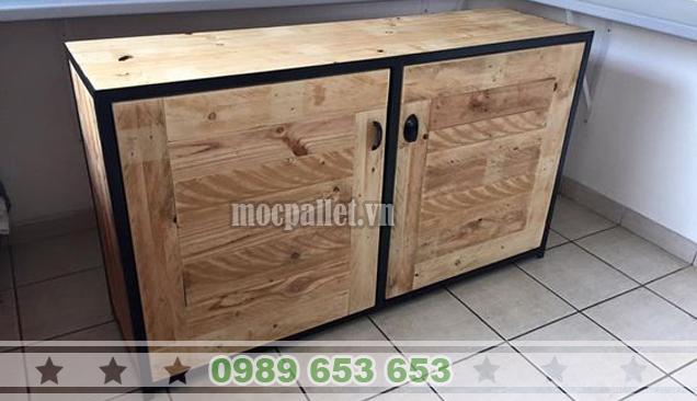 Tủ bếp gỗ thông pallet TB06