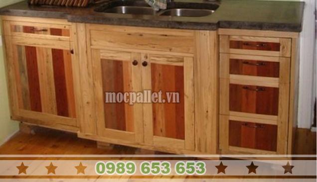 Tủ bếp gỗ thông pallet TB02
