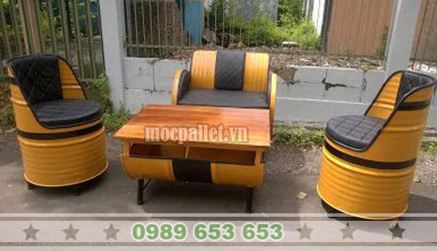 Bộ bàn ghế thùng phi TP58