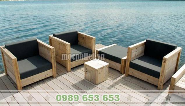 Bàn ghế phòng khách gỗ thông pallet PK06