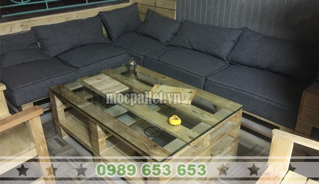 Bộ bàn ghế phòng khách gỗ thông pallet PK07